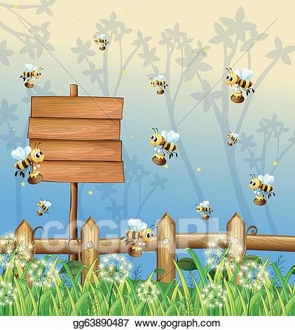 Bees clipart signboard. Clip art vector in