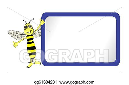 Bee clipart signboard. Drawing cute with blue
