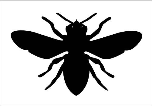 Bee clipart silhouette. Vector in black and