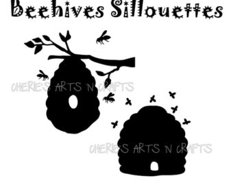 Bee clipart silhouette. Etsy beehive silhouettes bees