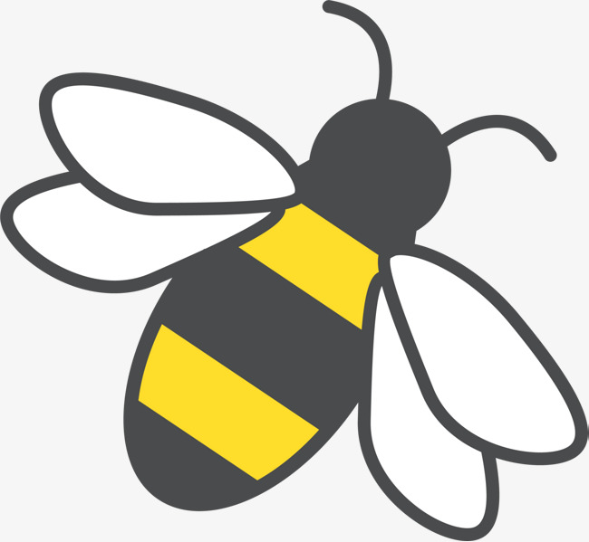 Hand painted yellow bee. Bees clipart simple