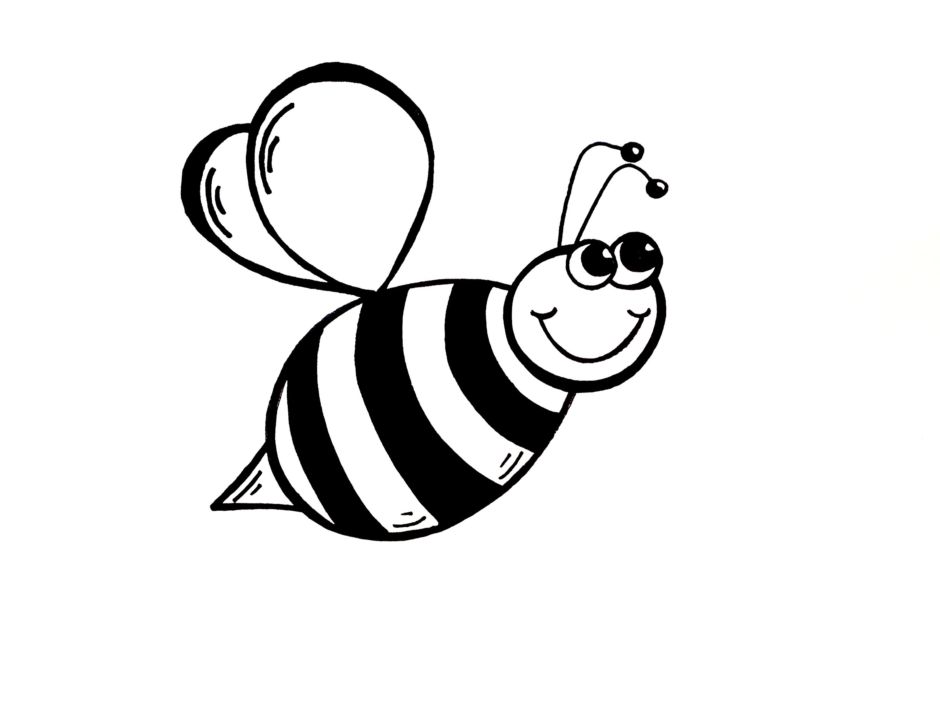 Bees clipart black and white. Simple bumble bee drawing