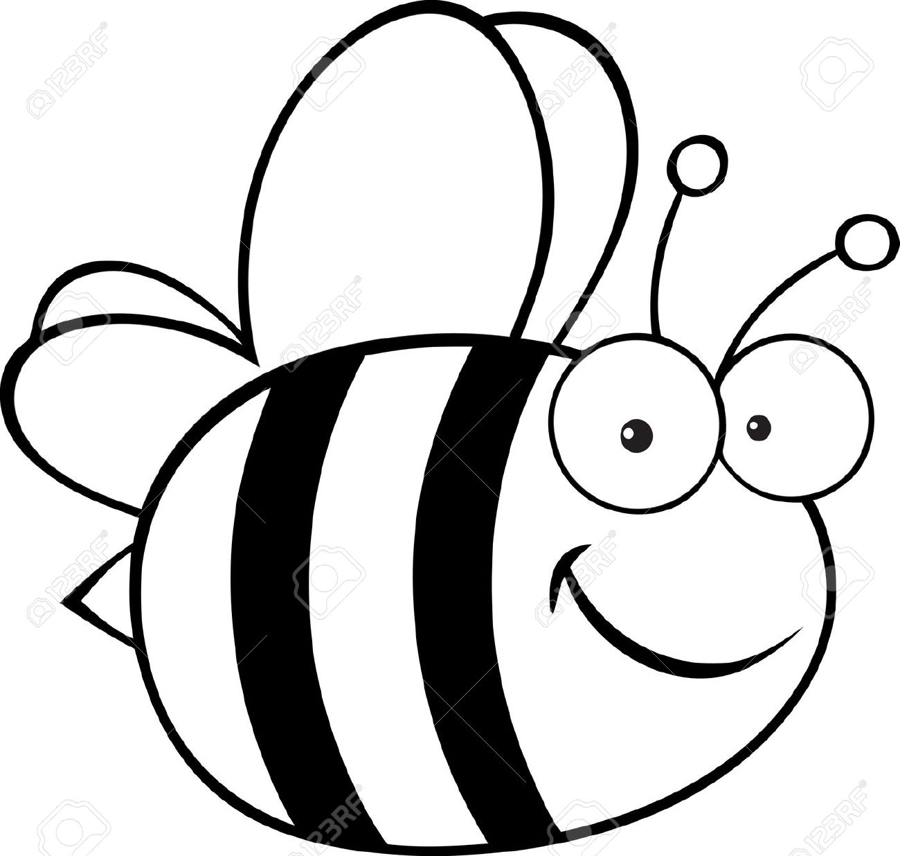 Honey black and white. Bee clipart sketch