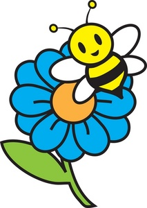 Sunflower and bee . Bees clipart spring