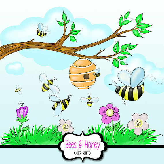 Honey bee with beehive. Bees clipart spring