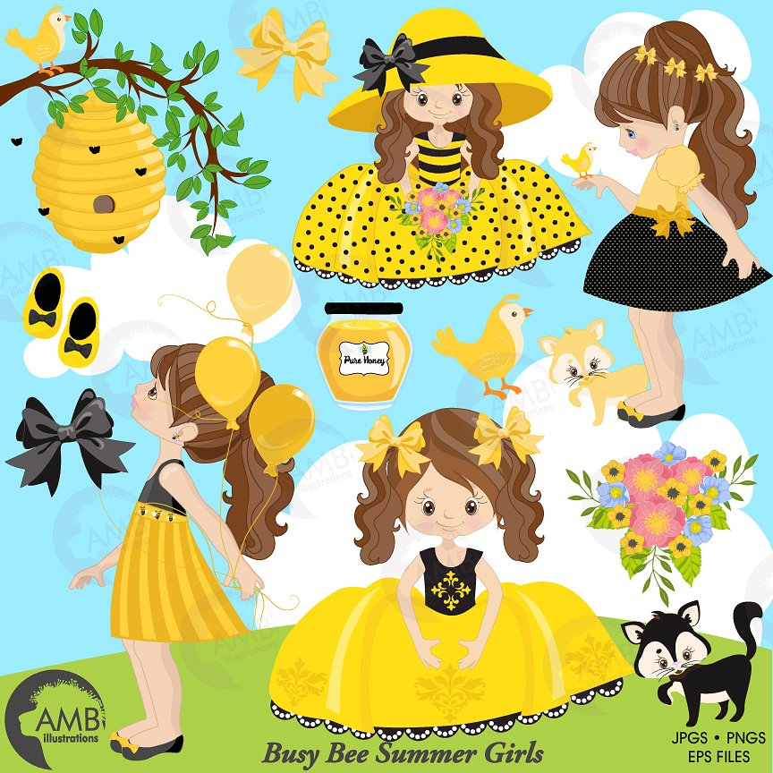 Bee clipart summer. Bumble girls illustrations creative