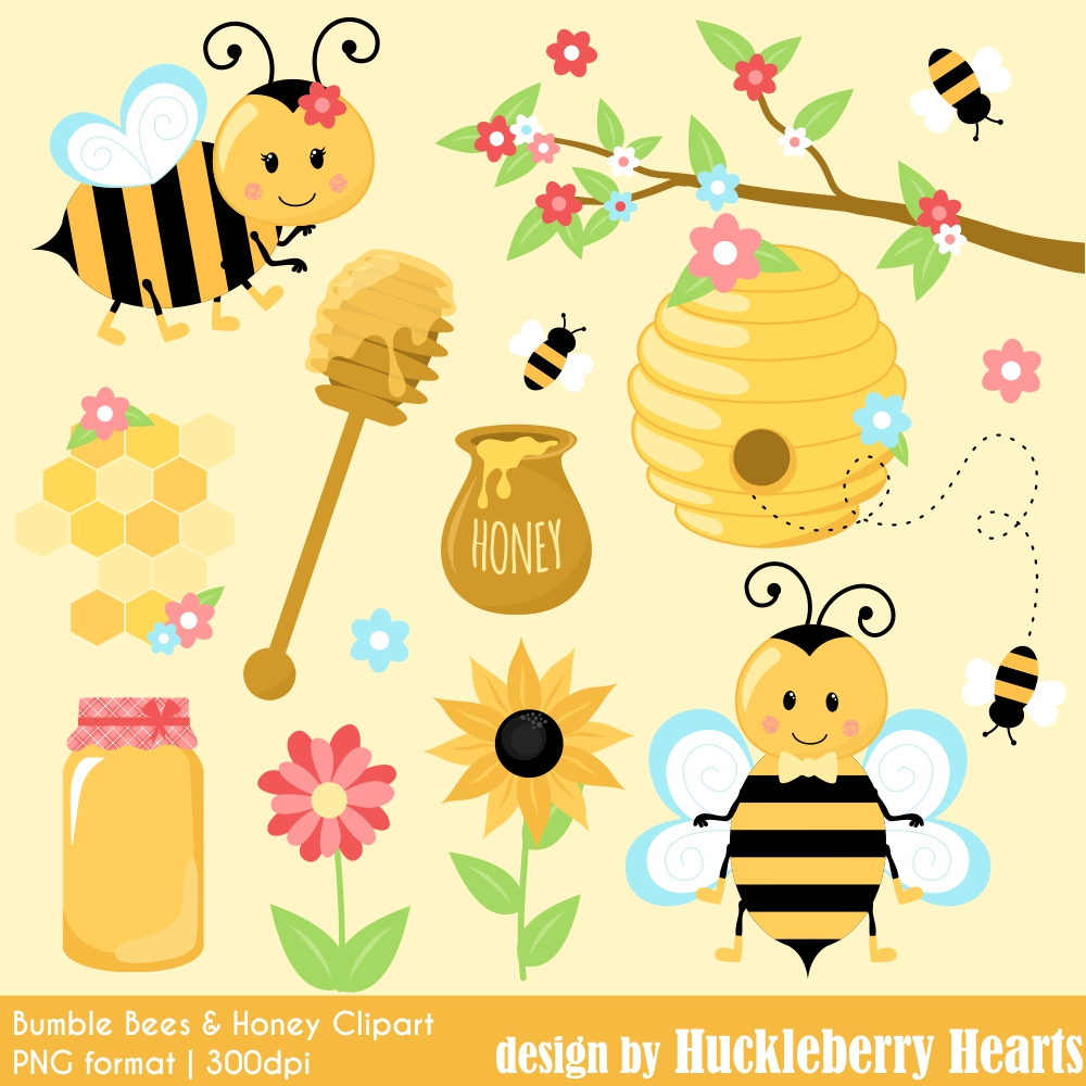 Bumble and honey huckleberry. Bees clipart summer