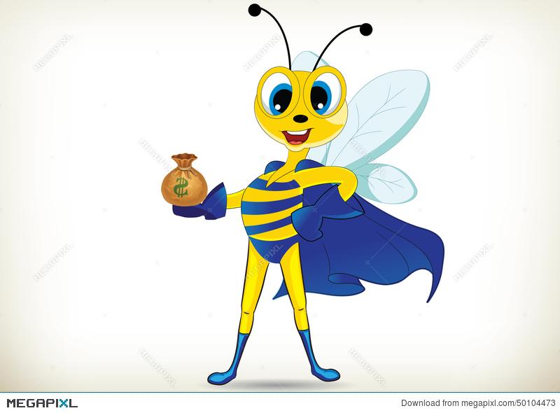 Bees clipart superhero. Fun bee illustration megapixl