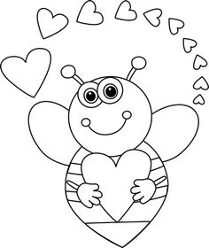 Border clip art cartoon. Bee clipart valentines day