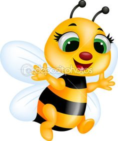 Lovely cartoon bee set. Bees clipart vector