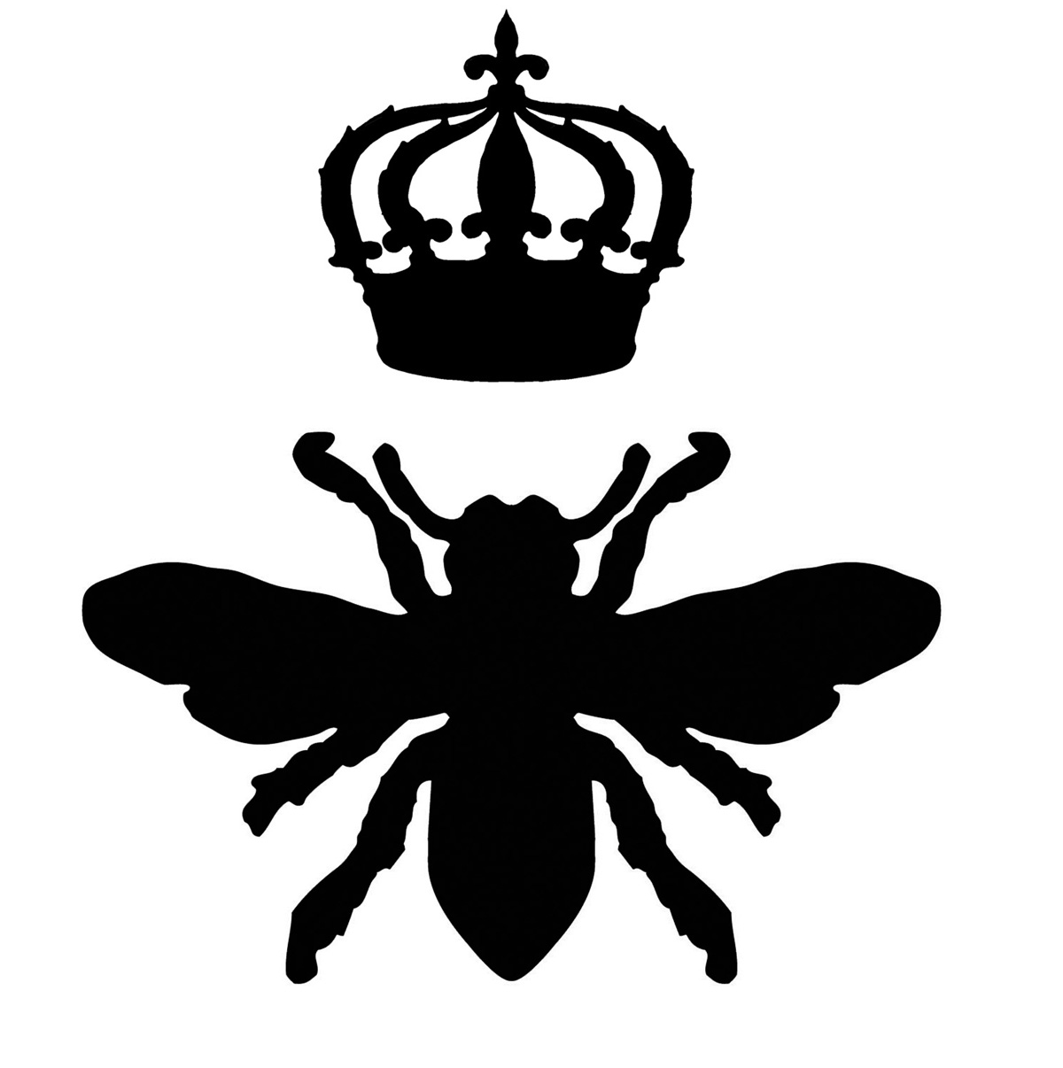 Queen iron on transfer. Bee clipart victorian