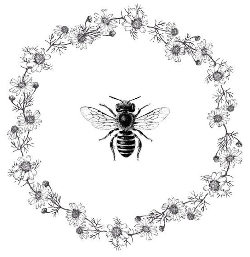 Bee clipart vintage. Print poster daisy wreath
