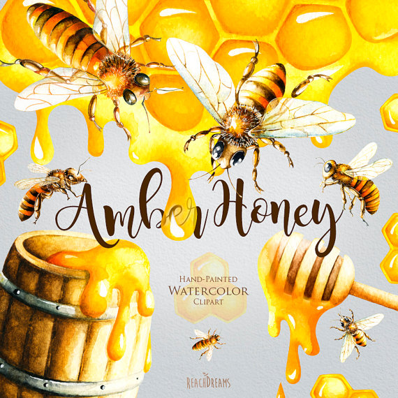 Honey bee honeycomb hand. Bees clipart watercolor