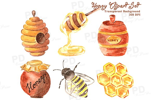 Honey illustrations creative market. Bee clipart watercolor