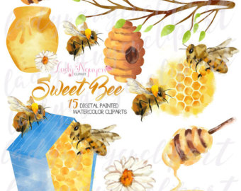 Art bee etsy instant. Bees clipart watercolor
