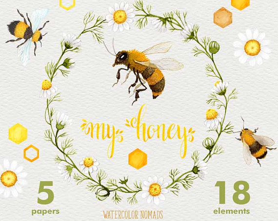 Bee clipart watercolor. My honey honeycomb background