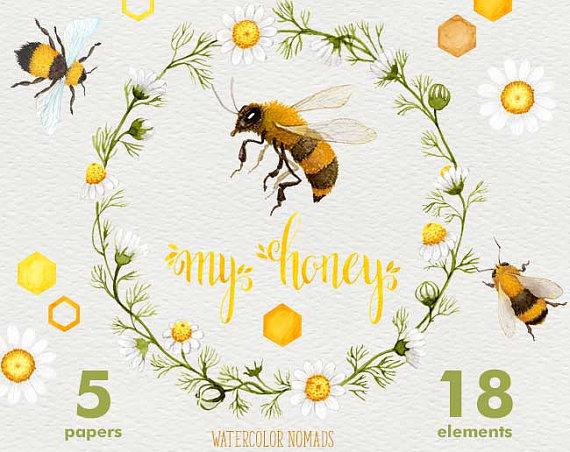 Bee my honey honeycomb. Bees clipart watercolor
