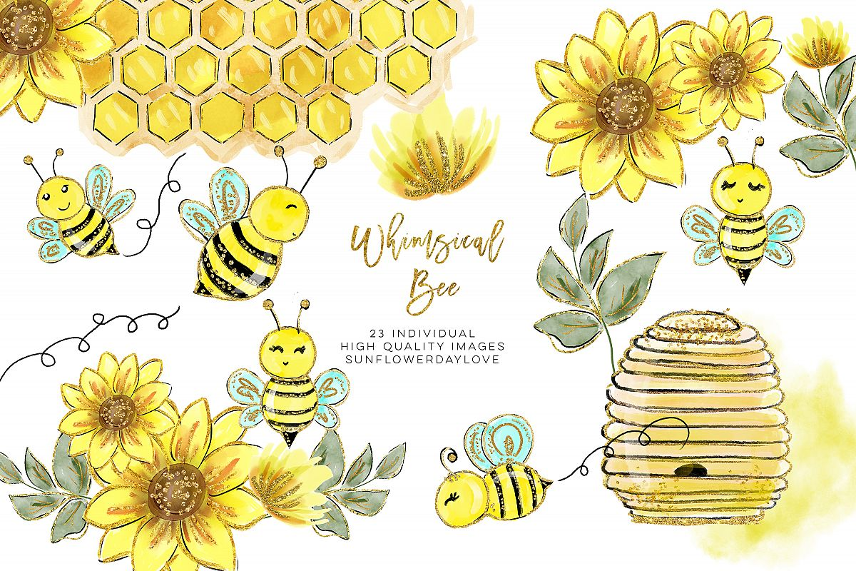Honey clipart clip art. Watercolor bee
