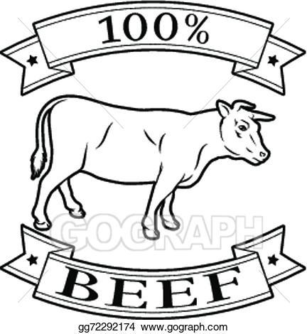 Beef clipart 100 percent. Eps illustration label vector