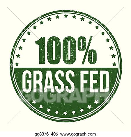 Vector grass fed stamp. Beef clipart 100 percent