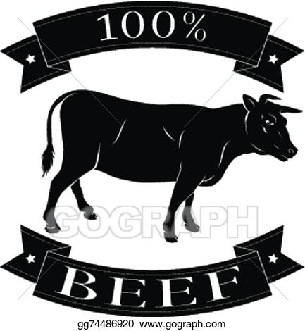 Beef clipart 100 percent. Vector illustration cow label