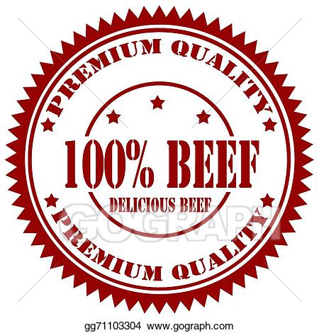 Vector stock stamp clip. Beef clipart 100 percent