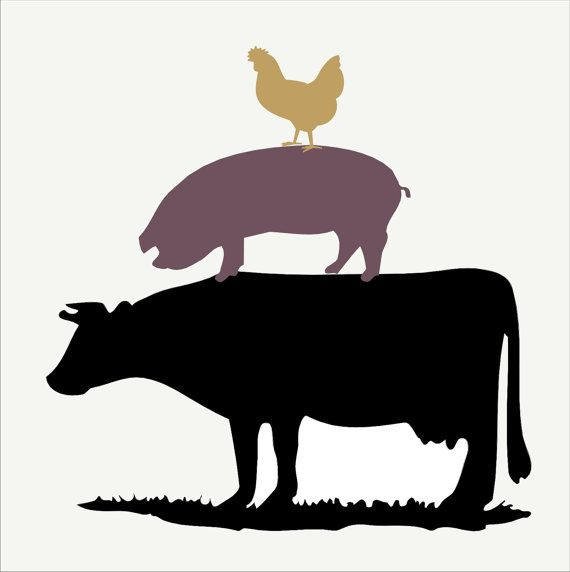 Cow chicken stack reusable. Chickens clipart pig