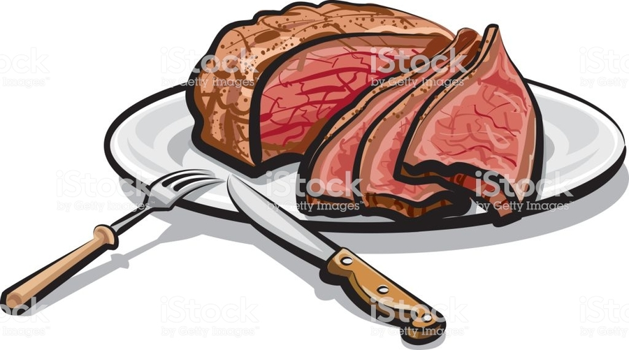 Beef clipart steak. Download on a plate