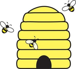 Beehive with bees swarming. Honeycomb clipart honey bee house