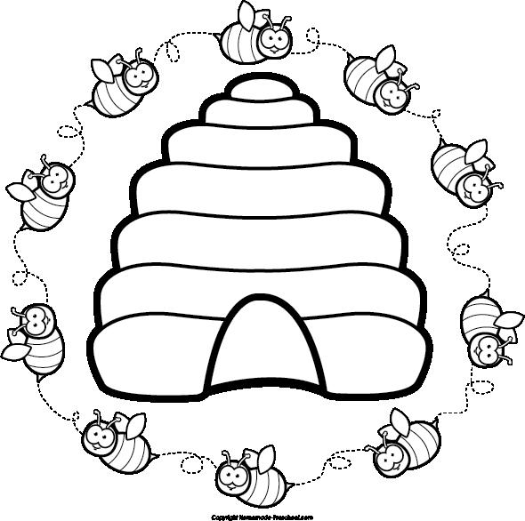 Beehive etc de flor. Circle clipart bee