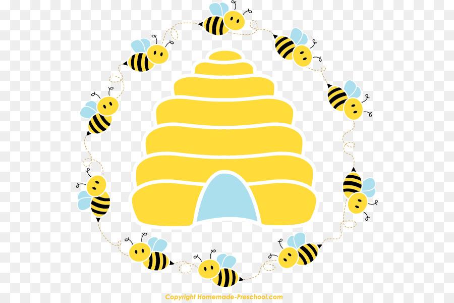 Honey bee beehive queen. Bees clipart borders