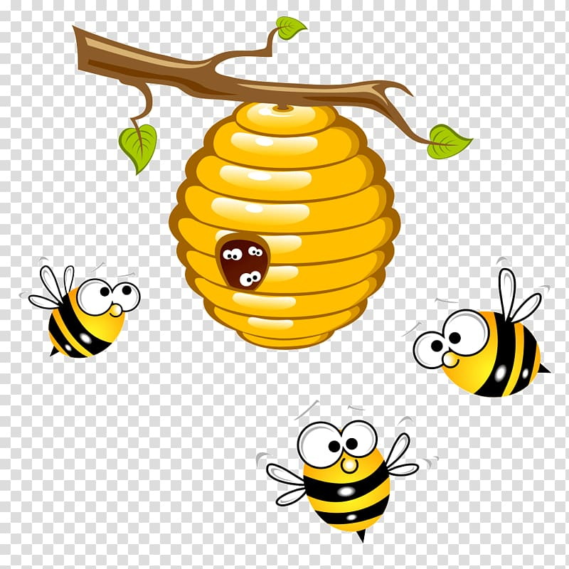 Bumblebee clipart beehive. Three bees flying around