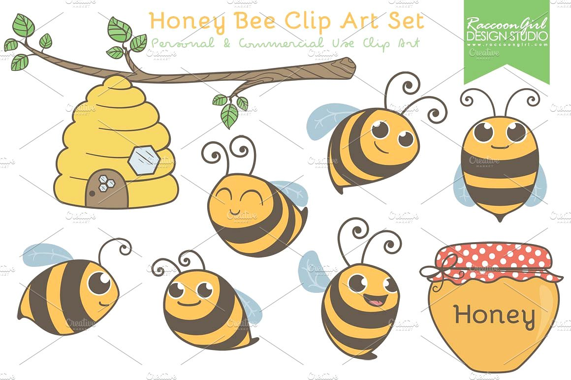 Honey bee clip art. Bees clipart adorable