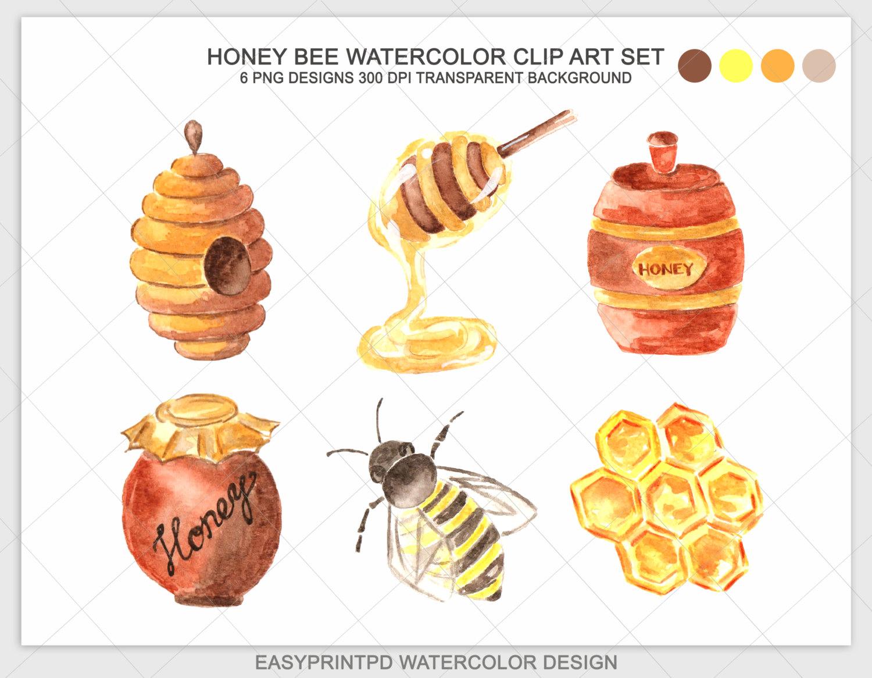 Bees clipart watercolor. Honey clip art bee