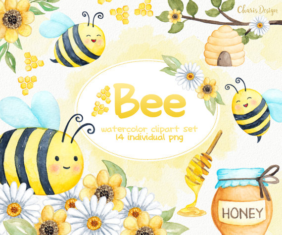 Bees clipart watercolor. Bee animal illustration baby