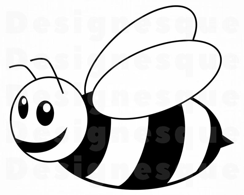 Bees clipart outline. Cute bee svg files