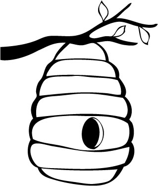 Bee hive drawing at. Beehive clipart sketch