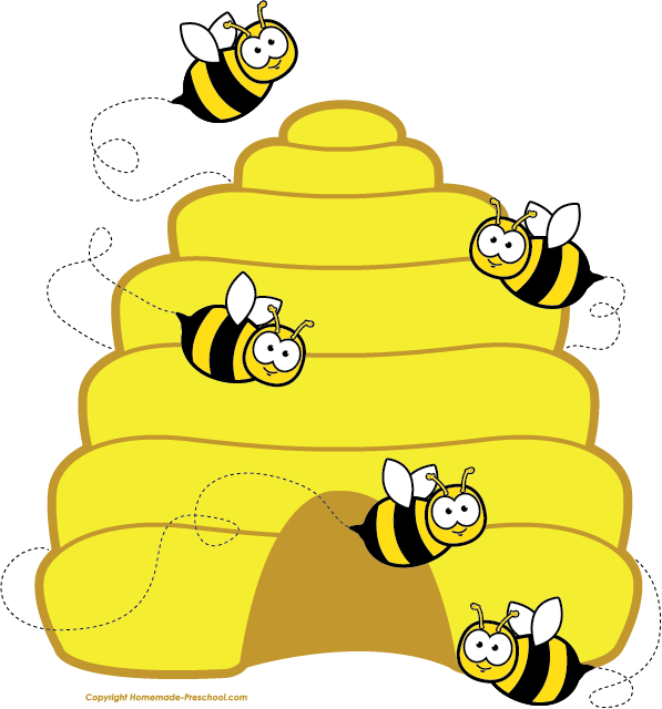 Home free beehive bees. Number 4 clipart bee