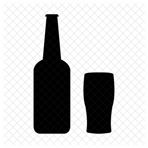 Beer bottle icon png. With glass food drinks