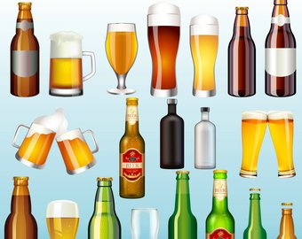 Alcohol etsy drinks bottle. Beer clipart alcoholic drink