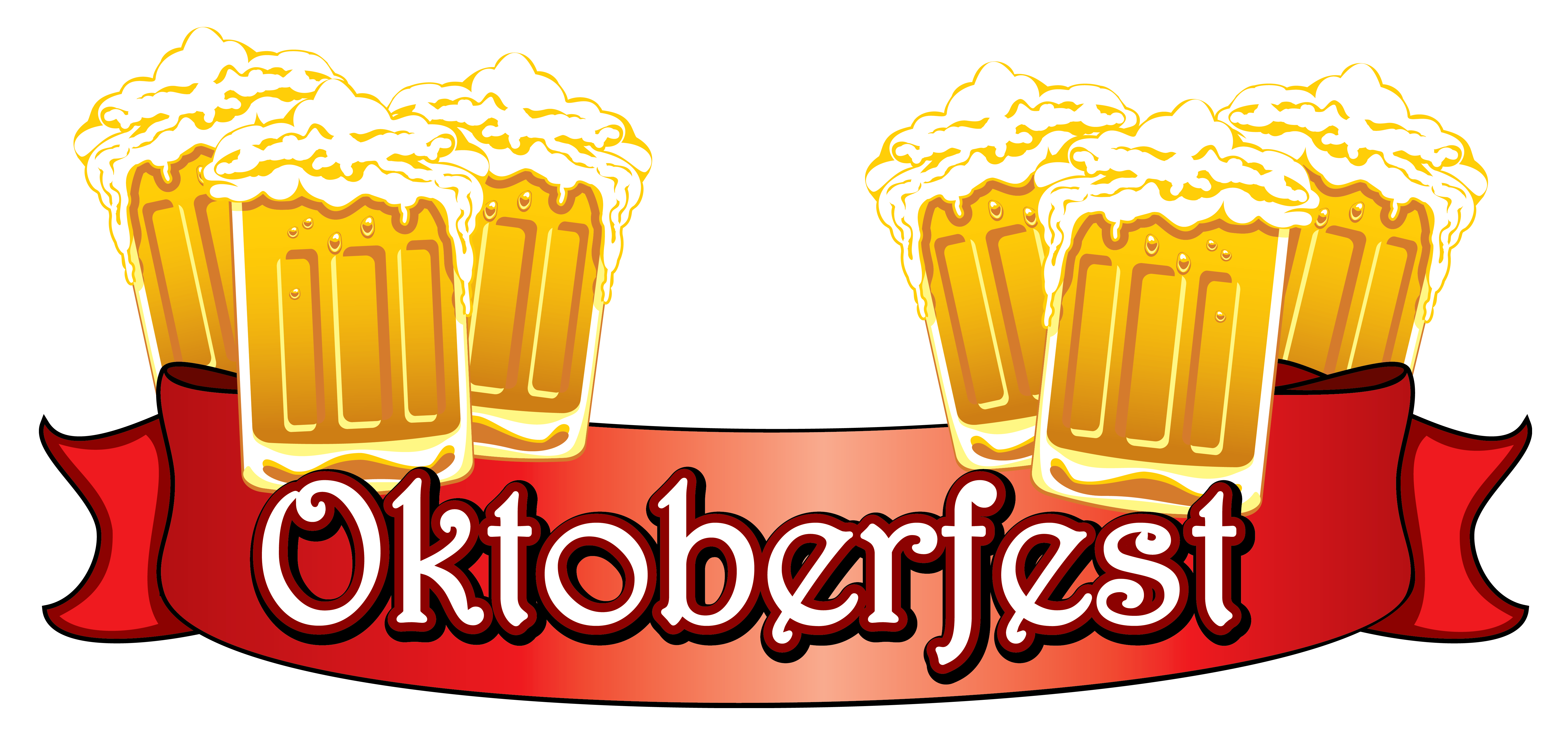 Oktoberfest red with beers. Foods clipart banner