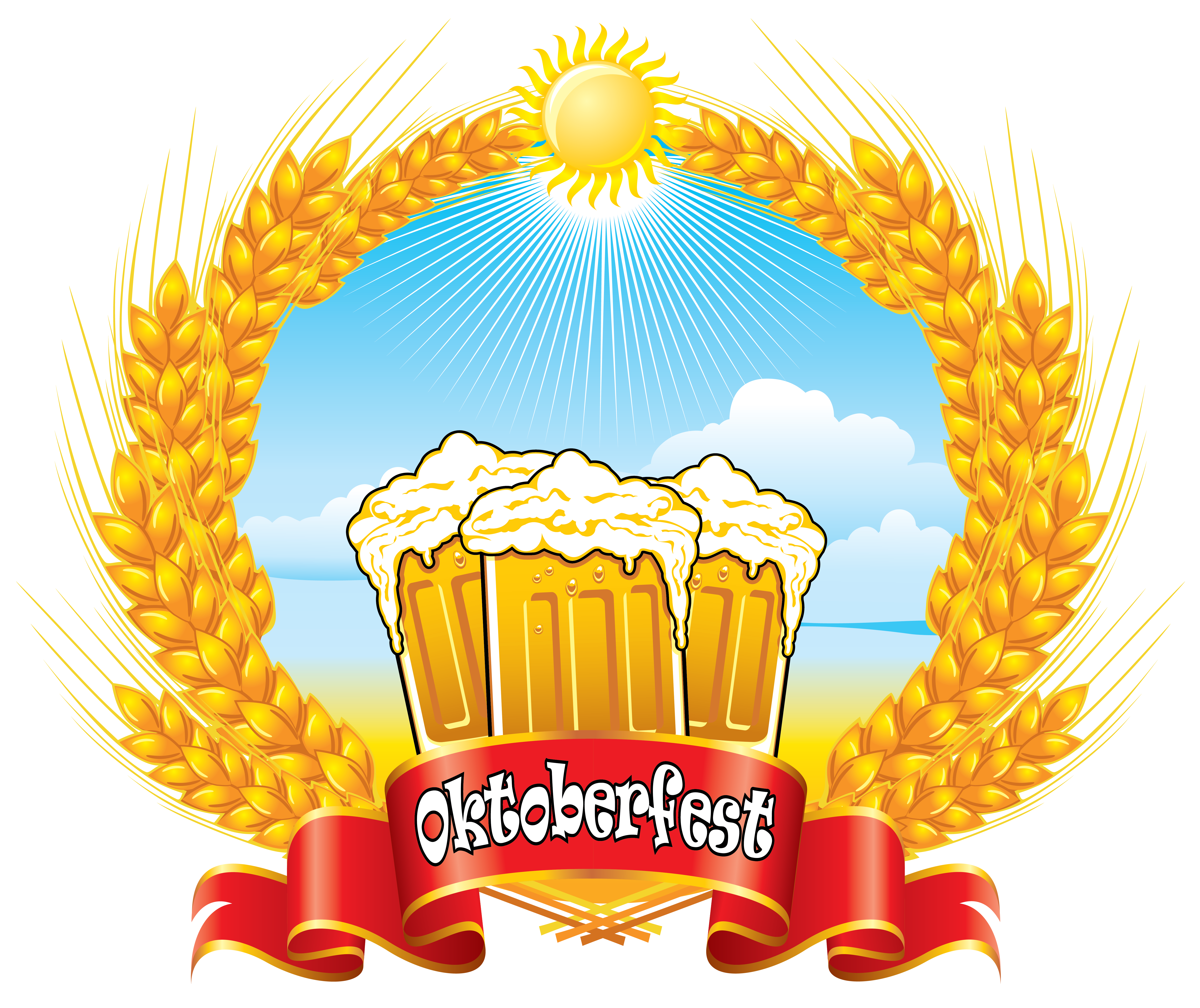 Oktoberfest red banner with. Wheat clipart cute