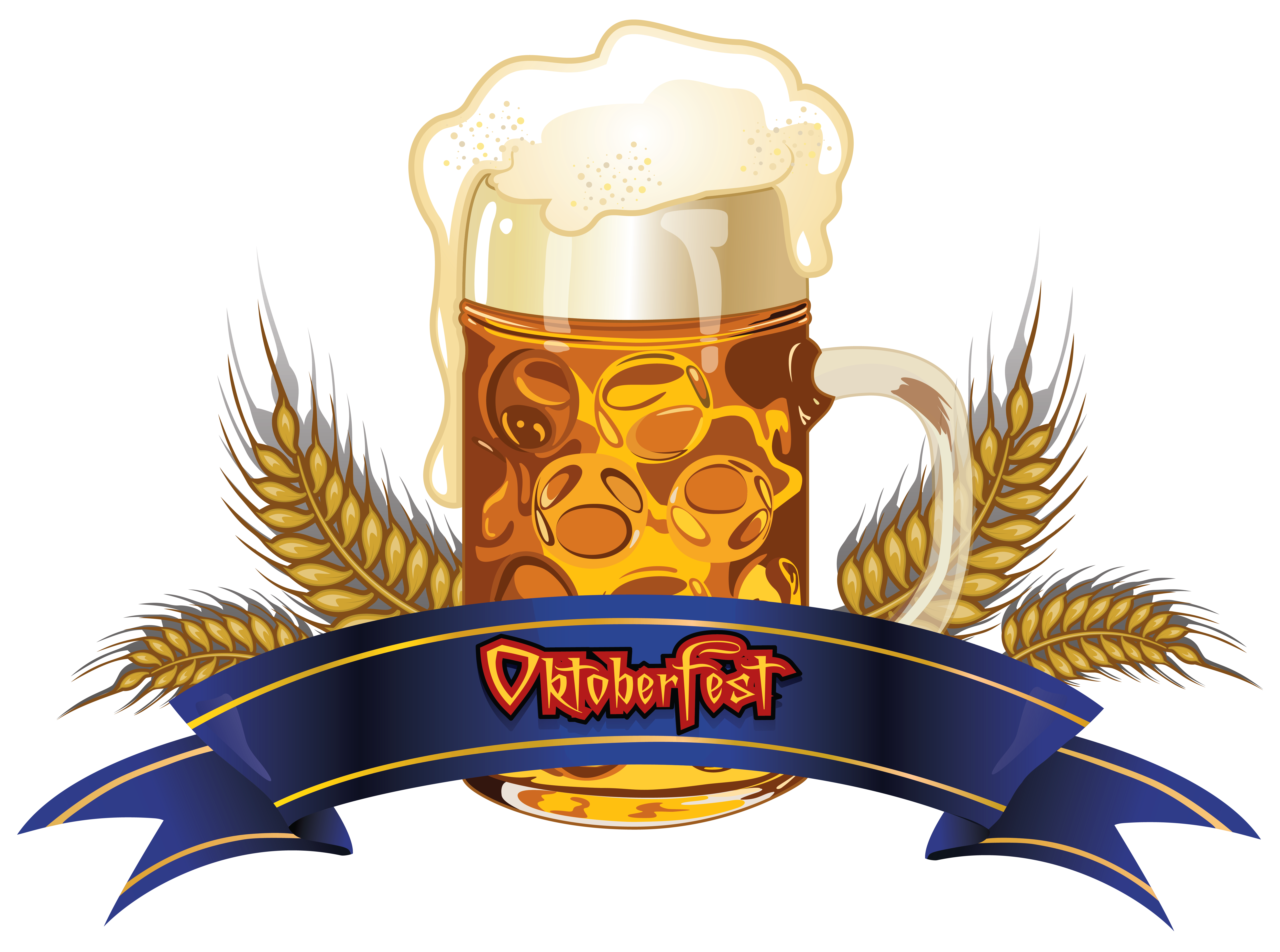 Wheat clipart crest. Oktoberfest beer with and