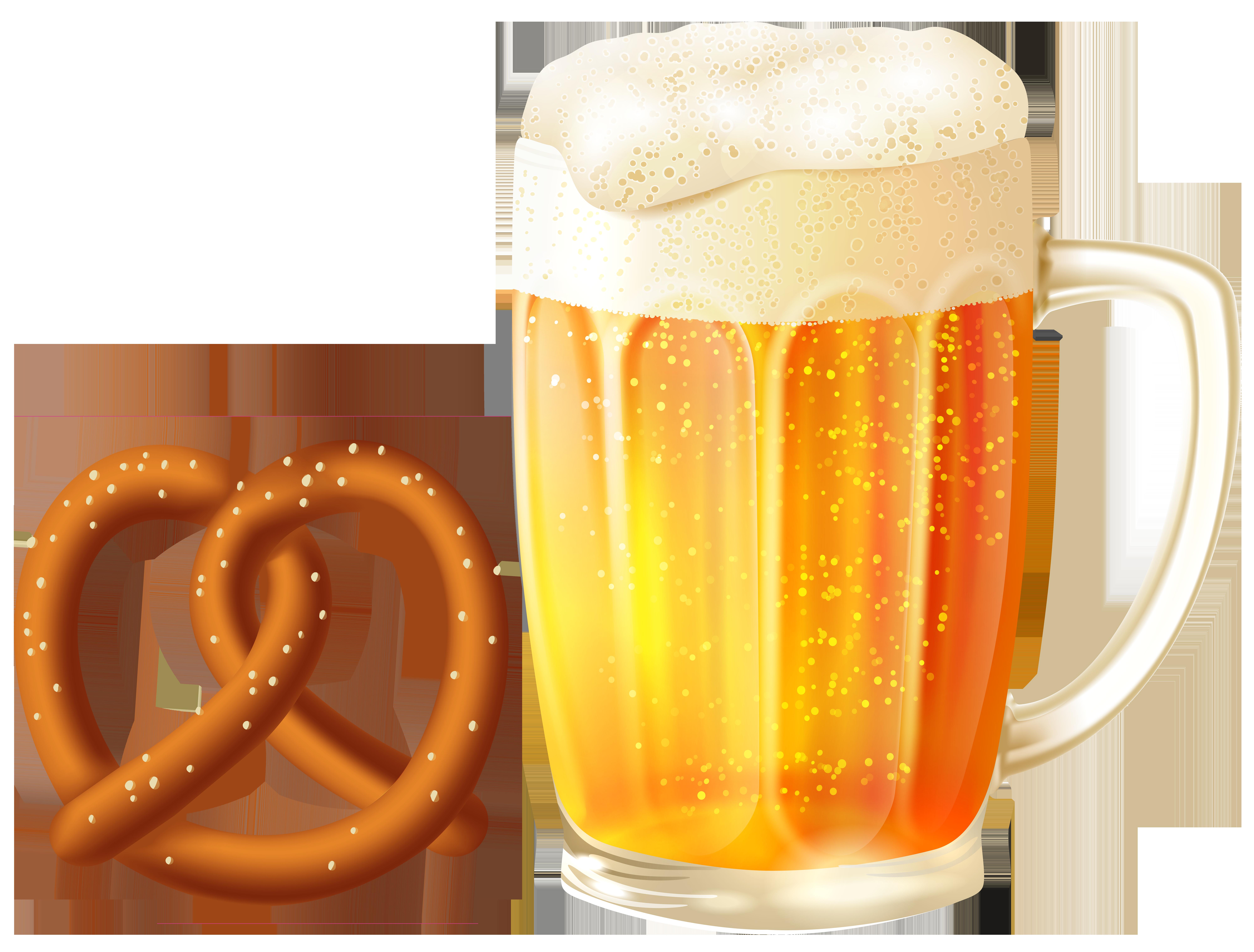 Cup clipart beer. Mug and pretzel png