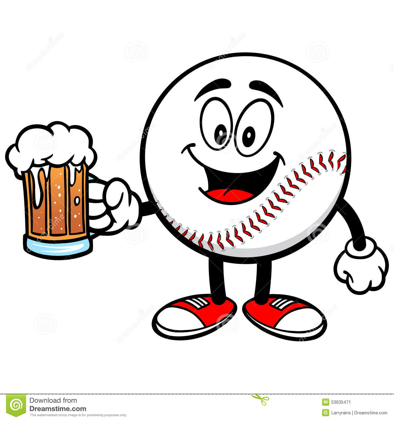 Pencil and in color. Beer clipart baseball