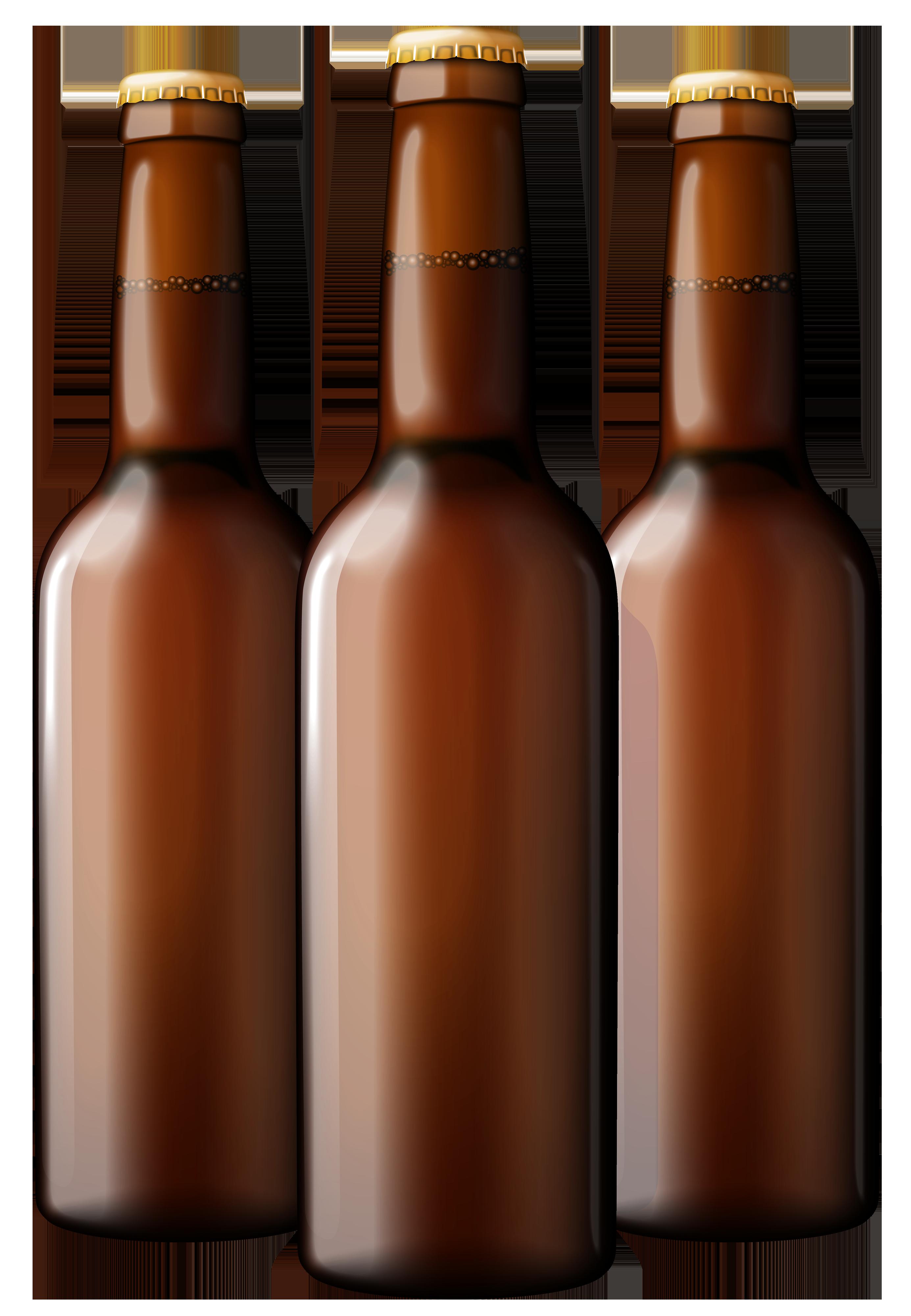 Brown beer bottles png. Good clipart transparent background