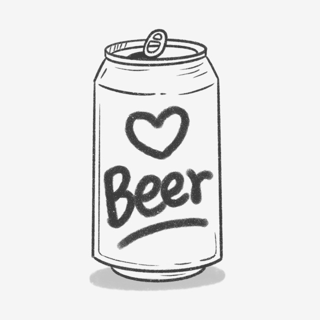 Beer clipart beer can. Hand drawn cute alcohol