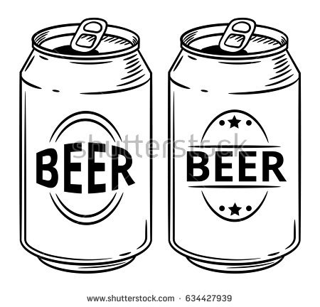 Black and white station. Beer clipart beer can