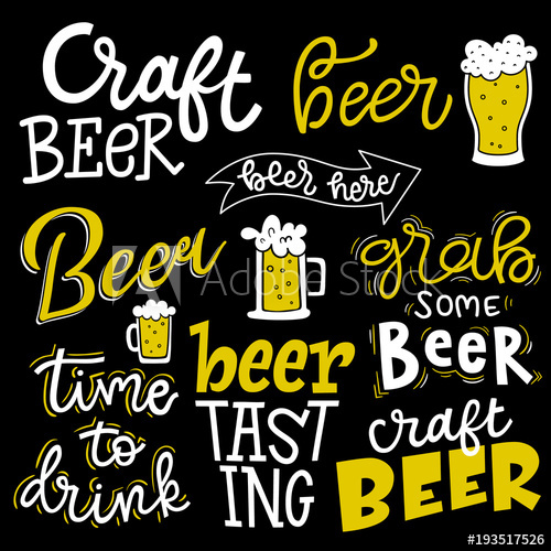 Beer clipart beer tasting. Set of lettering quotes