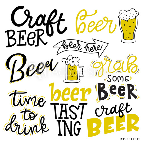 Set of lettering quotes. Beer clipart beer tasting